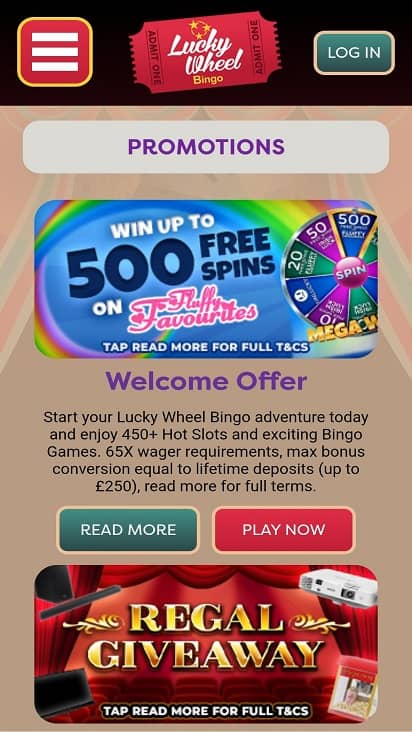 Lucky wheel bingo promotions page