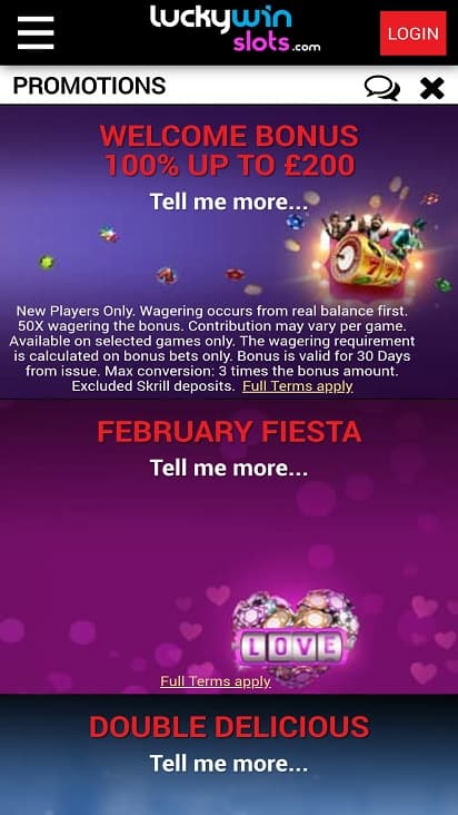 Lucky win slots promotions page