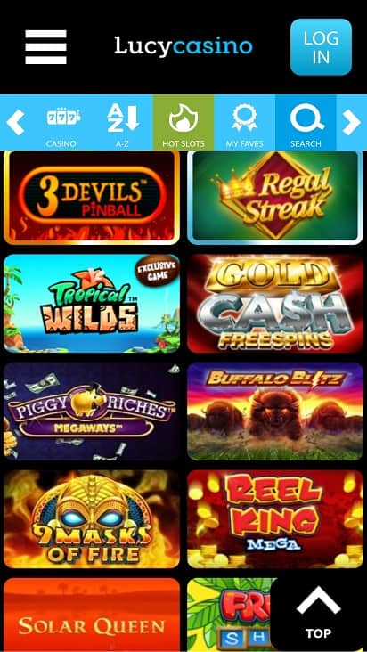 Lucy casino games page