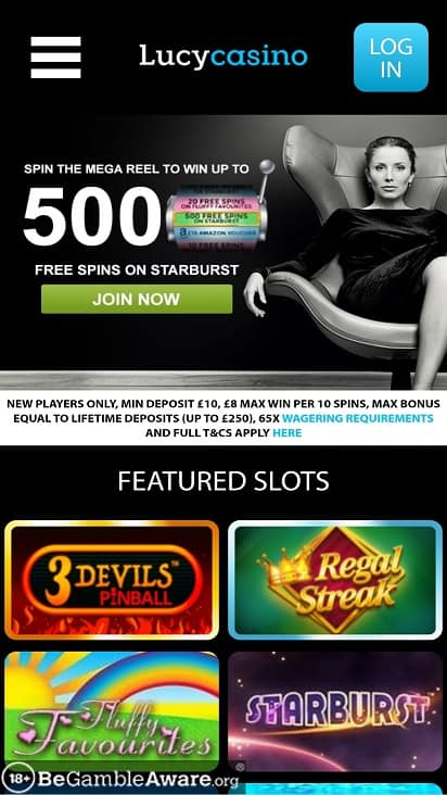 Lucy casino home page