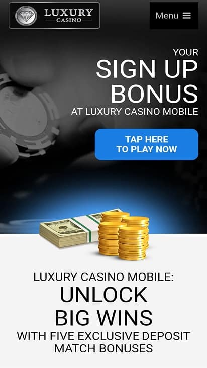 Luxury casino promotion page