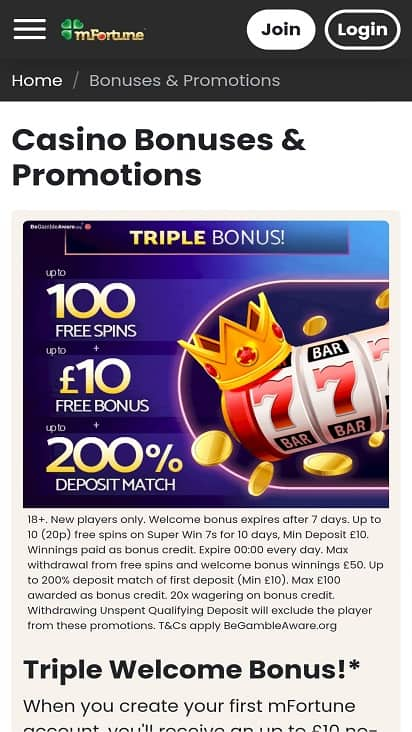 M fortune promotions page