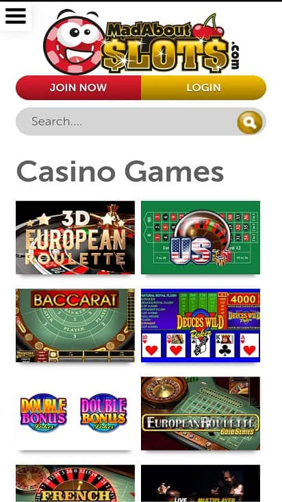 Mad about slots games page