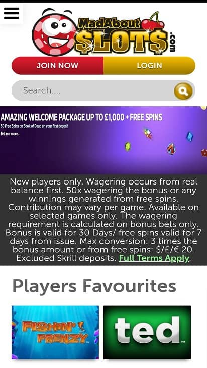 Mad about slots home page