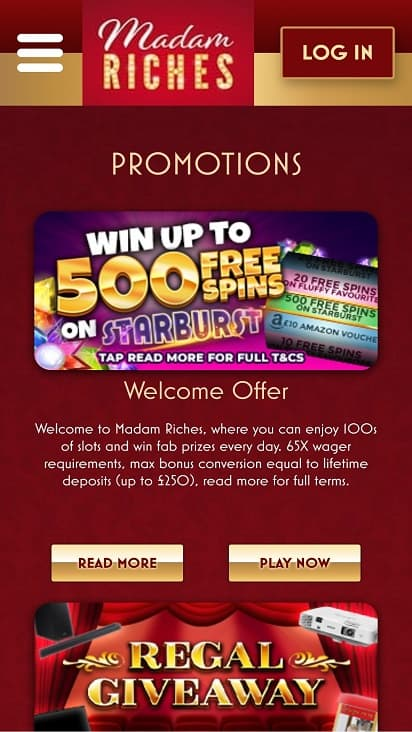 Madam riches promotions page