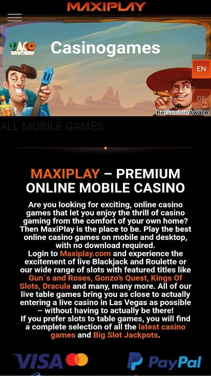 Maxi play games page
