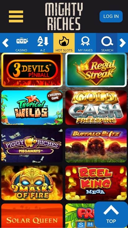 Mighty riches games page