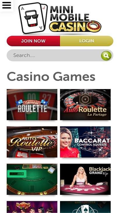 Mini mobile casino games page