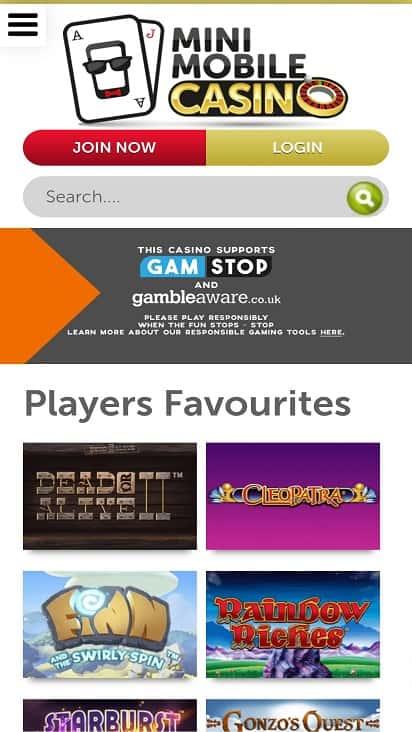 Mini mobile casino home page