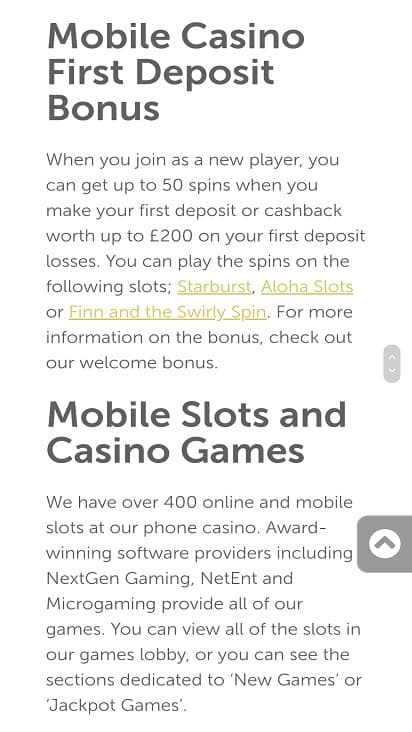 Mini mobile casino promotions page
