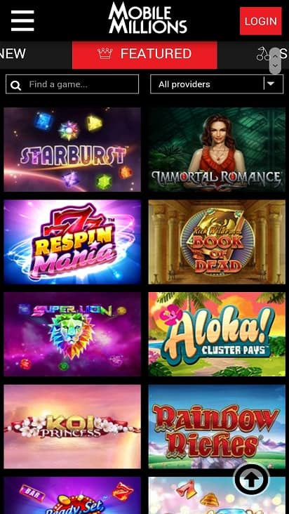 Mobile millions games page