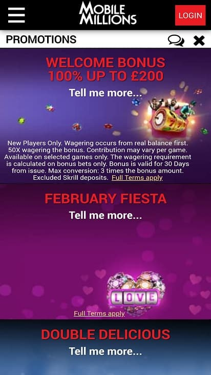 Mobile millions promotions page