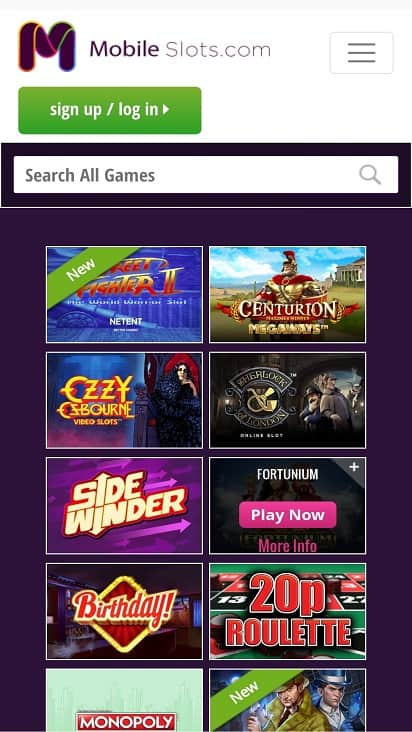 Mobile slots games page