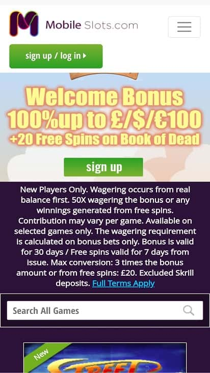 Mobile slots promotions page