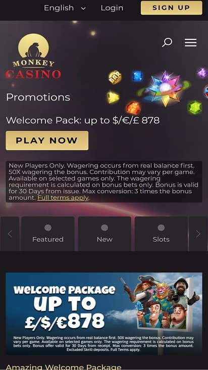 Monkey casino promotions page