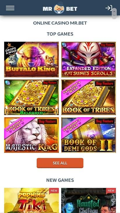Mr bet games page