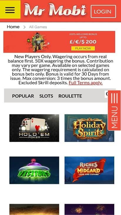 Mr mobi games page