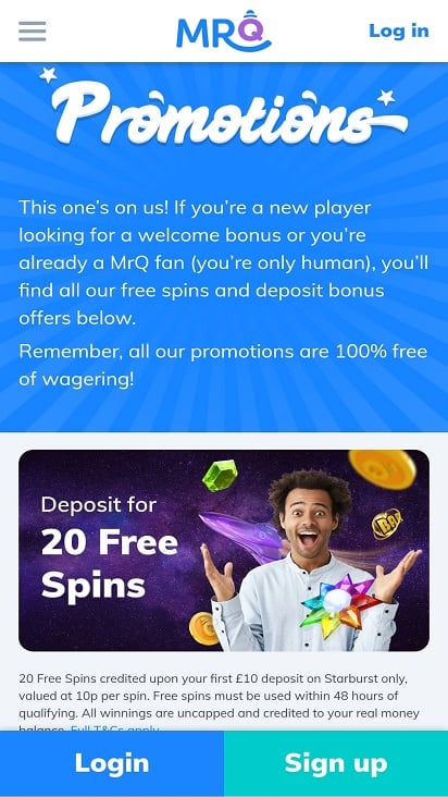 Mr q promotions page