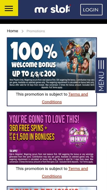Mr slot promotions page