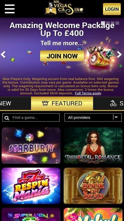 Mr vegas casino home page