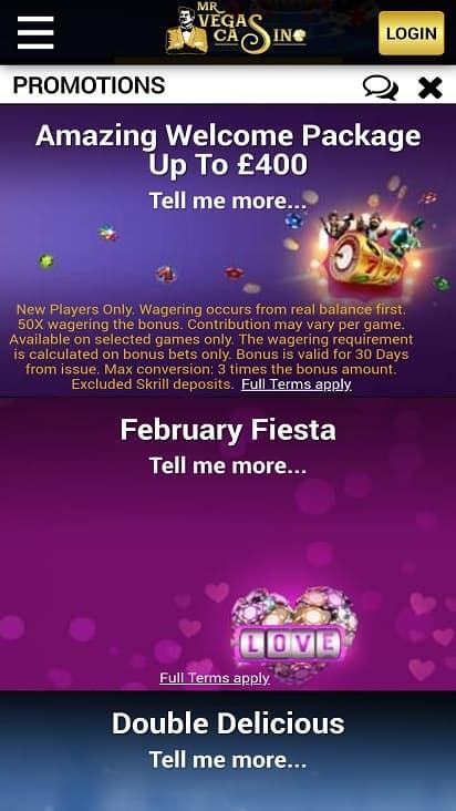 Mr vegas casino promotions page