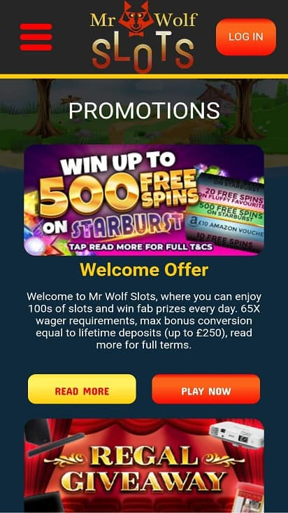 Mr wolf slots promotions page