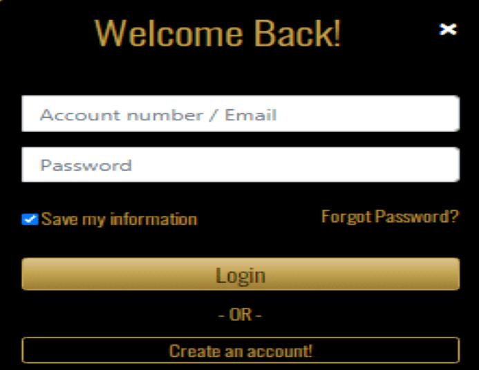 Myb Casino Login page