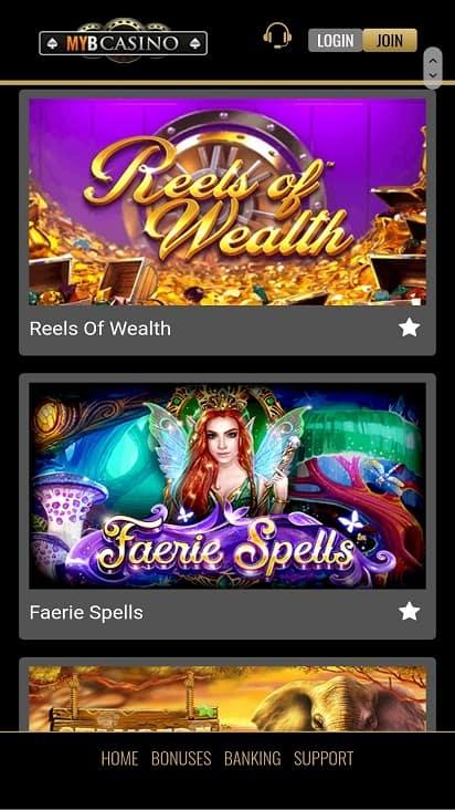 Myb casino games page