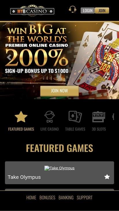 Myb casino home page