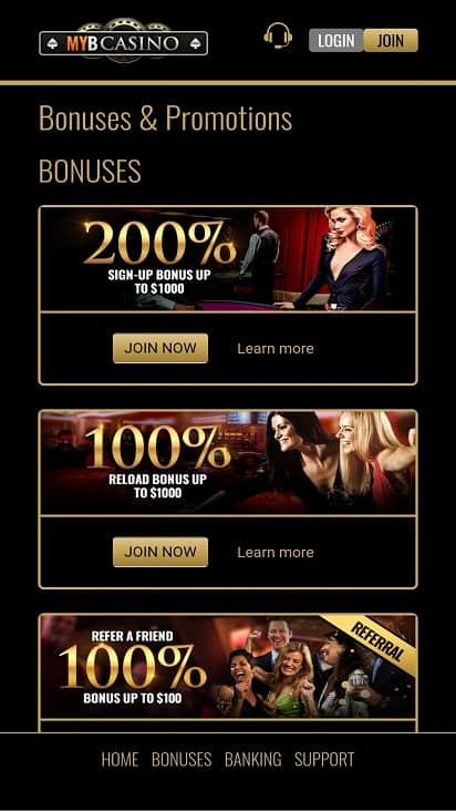 Myb casino promotions page