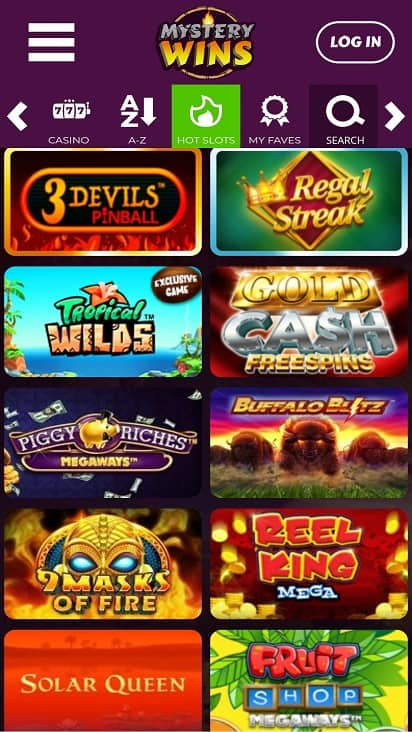 Mystery wins games page