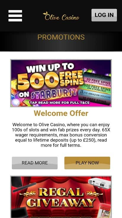 Olive casino promotions page