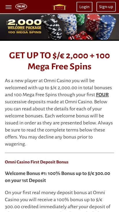 Omni casino promotions page