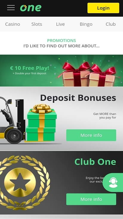 One casino promotions page