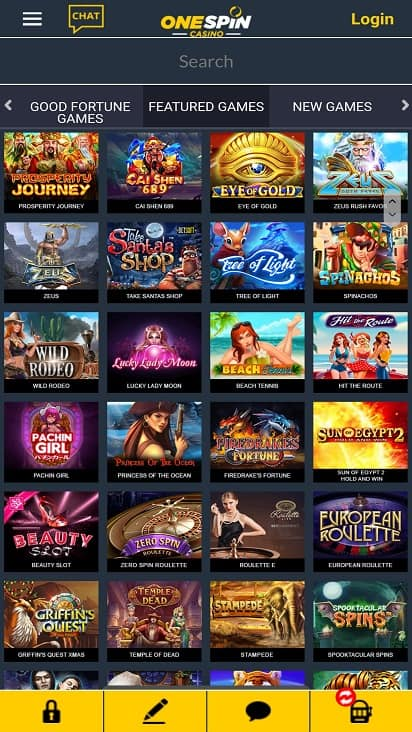 One spin casino Games page