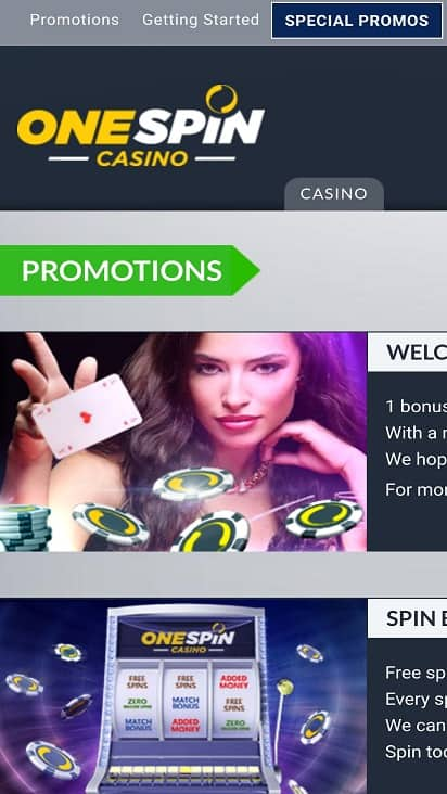 One spin casino promotions page