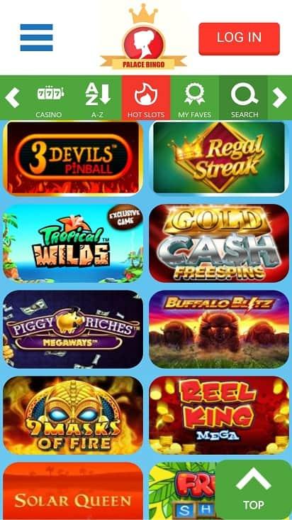 Palace bingo games page