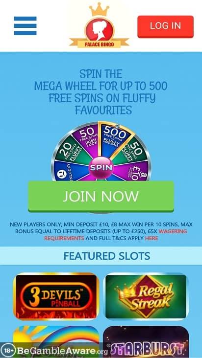Palace bingo home page