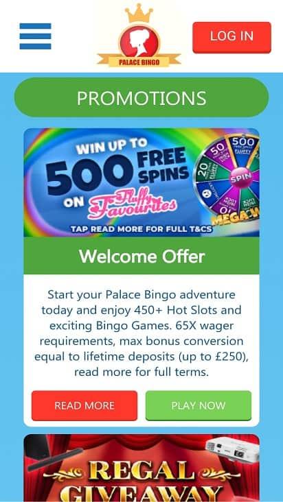 Palace bingo promotions page