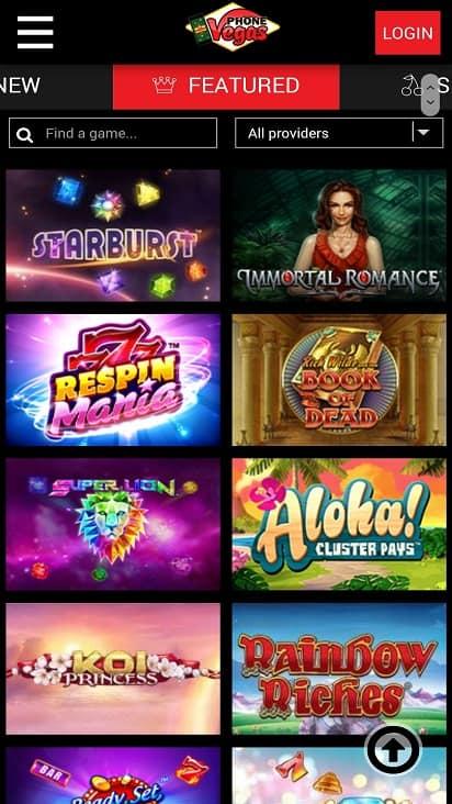 Phone vegas games page