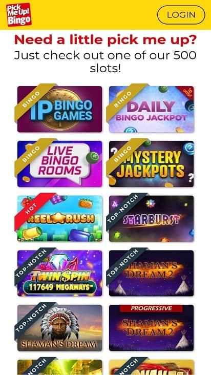 Pick me up bingo games page
