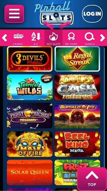 Pinball slots games page