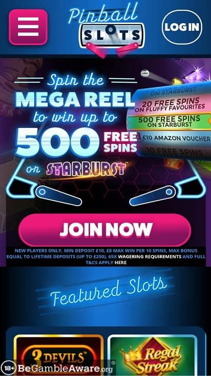 Pinball slots home page