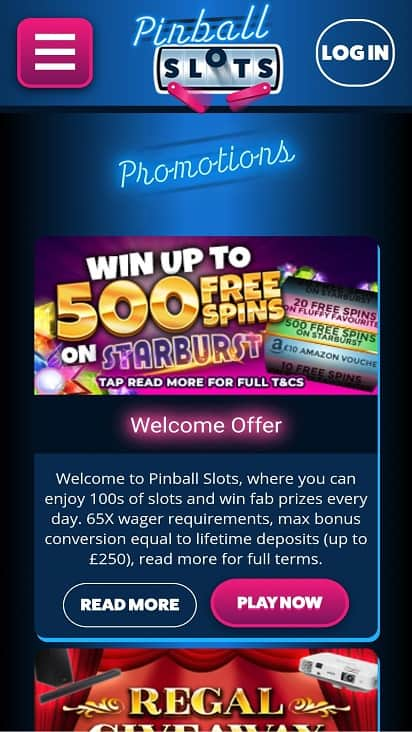 Pinball slots promotions page