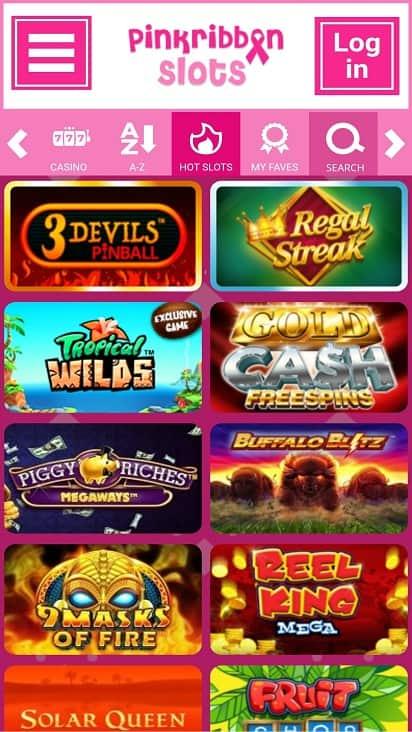 Pink ribbon slots games page