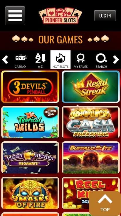Pioneer slots games page