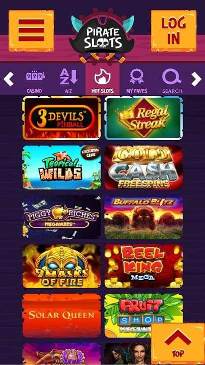 Pirateslots games page