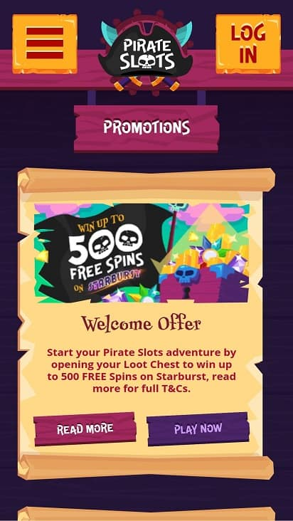 Pirateslots promotions page
