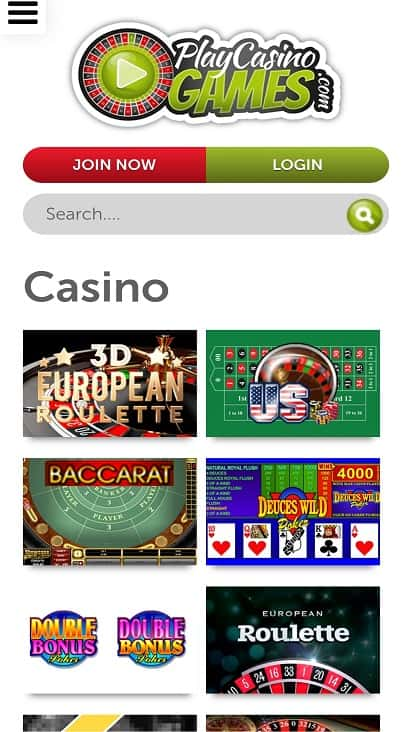 Play casino games page