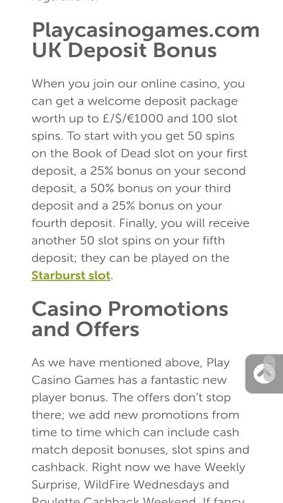Play casino games promotions page
